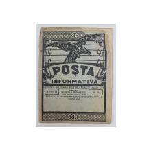 POSTA INFORMATIVA  - REVISTA BILUNARA PENTRU FUNCTIONARII P.T.T. , ANUL III , NO. 54  MAI 1930