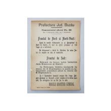 Prefectura Jud. Buzau Comunicatul oficial Nr. 25 de pe front din 8 Septembrie 1916