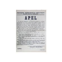 PRIMARIA MUNICIPIULUI BUCURESTI, APEL, 13 Ianuarie 1938
