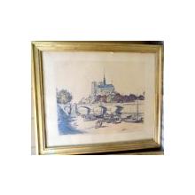 Raffaelli Jean Francois 1850-1924 , Cathedrale Notre Dame de Paris , semnat de catre artist