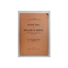 RECENSEMENT GENERAL DE LA ROUMANIE par L. COLESCO , RAPPORT PRESENTE , 1913