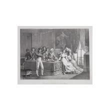 RENONCIATION DE JOSEPHINE A SES DROITS D 'EPOUSE ( RENUNTAREA JOSEFINEI LA DREPTURILE DE SOTIE ) , LITOGRAFIE de C. MOTTE , MONOCROMA, MIJLOCUL SEC. XIX