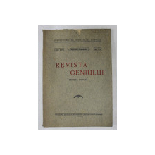 REVISTA GENIULUI  - REVISTA LUNARA , ANUL XIII , NR.  1 - 2 , IANUARIE - FEBRUARIE , 1930