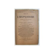 REVUE DE L'HYPNOTISME ET DE LA PSYCHOLOGIE PHYSIOLOGIQUE , 17ANNEE - No1, JUILLET 1902