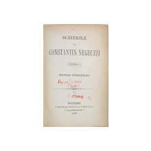 SCRIERILE LUI CONSTANTIN NEGRUZZI, PACATELE TINERETILOR,  VOL. I. - BUCURESTI, 1872