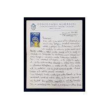 SCRISOARE ADRESATA PRINTESEI MARTHA BIBESCU , EXPEDIATA DE PROFESORUL CONSTANTIN NEDELCU DE LA  ' CERCETASII ROMANIEI  '  DATATA  12 NOIEMBRIE 1935
