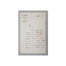 SCRISOARE EXPEDIATA DE UN REDACTOR AL ZIARULUI FRANCEZ ' LE TEMPS ' , SCRISA SI SEMNATA OLOGRAF L . AUBIN , DATATA 4 SEPTEMBRIE 1913