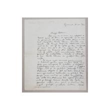 SCRISOARE SCRISA SI SEMNATA OLOGRAF de VLADIMIR DOGARU , DATATA 21 DECEMBRIE 1931