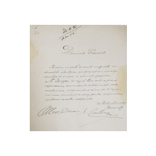 SCRISOARE SEMNATA OLOGRAF de ALEXANDRINA GR. CANTACUZINO , DIPLOMAT ( 1876 - 1944 ) , DATATA 20 OCTOMMRIE 1926