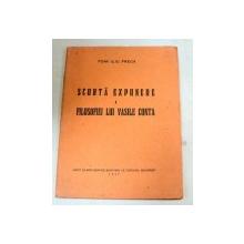 SCURTA EXPUNERE A FILOSOFIEI LUI VASILE CONTA-POMPILIU PRECA  1937