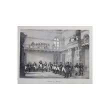 SERMENT DES MARECHAUX ( JURAMANTUL MARESALILOR IN FATA LUI NAPOLEON BONAPARTE ) , LITOGRAFIE de C. MOTTE , MONOCROMA, MIJLOCUL SEC. XIX
