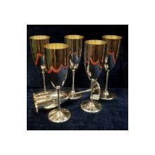 Set 6 cupe sampanie din argint