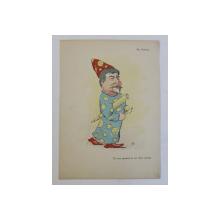 ST. HEPITES - ' CEL MAI APROPIAT DE CER ( FIUL CERULUI ) , CARICATURA , LITOGRAFIE de pictorul NICOLAE PETRESCU - GAINA 1871 - 1931 , 1898