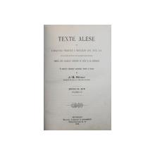 TEXTE ALESE DIN LITERATURA FRANCEZA A SECOLELOR XVII , XVIII , XIX PENTRU USUL CLASELOR SUPERIOARE DE LYCEE SI DE EXTERNATE  , SECOLUL XIX ( CLASSA V) de J. - B. HETRAT , 1899