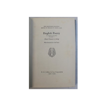 THE HARVARD CLASSICS - ENGLISH POETRY , VOLUME I  - FROM CHAUCER to GRAY , 1969