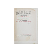 THE POEMS OF ERNEST DOWSON with a memoir by ARTHUR SYMONS - LONDRA,