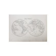 THE WORLD  - PLANIGLOB , GRAVURA COLOR CU CELE DOUA EMISFERE DE VEST SI DE EST , MIJLOCUL  SECOLUL XIX