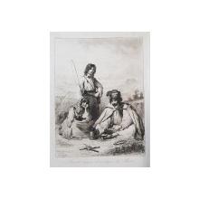 """THEODORE VALERIO ( 1819 - 1879 ) , GRAVURA PE METAL """" FAMILLE TSIGANE DES MONTAGNES DU MATRA  """"  , SEMNATA SI DATA IN  STANGA JOS , 1854"""