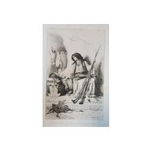 "THEODORE VALERIO ( 1819 - 1879 ) , GRAVURA PE METAL "" GARDEUSE D ' ARMES A  L ' ENTREE DU MONASTERE DE CETTIGNE ""  , SEMNATA SI DATA IN DREAPTA  JOS , 1864"