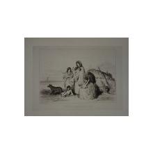 "THEODORE VALERIO ( 1819 - 1879 )  , GRAVURA PE METAL : "" HABITATION TSIGANE SUR LA PUSTA "" , DATA SI SEMNATA IN STANGA JOS , 1855"