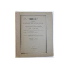 THESES PRESENTEES A LA FACULTE DES SCIENCES DE PARIS  POUR OBTENIR LE GRADE DE DOCTEUR  ES SCIENCES MATHEMATIQUES  par  M. ALEXANDRE FRODA , 1929 , DEDICATIE*