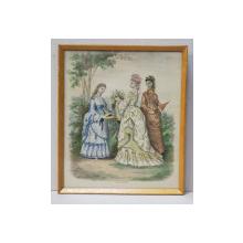 TINERE IN ROCHII DE EPOCA , IN GRADINA , MOD PARIZIANA , GRAVURA ORIGINALA COLORATA MANUAL , DATATA  1872