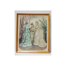 TREI TINERE IN ROCHII DE EPOCA , MODA PARIZIANA , GRAVURA ORIGINALA COLORATA MANUAL, DATATA 1873