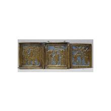 Triptic de calatorie din bronz si email, Rusia sec. XIX