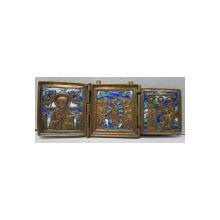 Triptic din bronz si email policrom, Rusia, sec. XIX