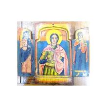 Triptic pe lemn , Sf. Ioan , Trifon si Pantelimon , Sec. XIX