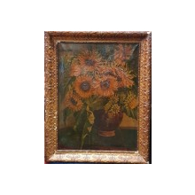 Vas cu floarea soarelui, Semnat indescifrabil, Circa 1900
