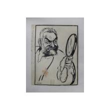 VINTILA BRATIANU - CARICATURA PENTRU ZIARUL DREPTATEA  de B 'ARG ( ION BARBULESCU 1887 - 1969 ) , SEMNATA STANGA JOS , PERIOADA INTERBELICA