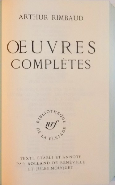 rimbaud oeuvres completes